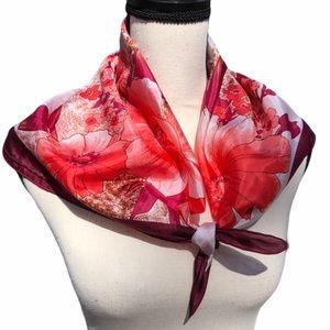 Vintage Floral Pink Silk Scarf